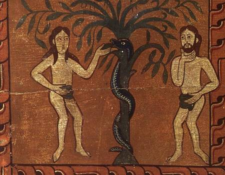IND54453 Adam and Eve with a Serpent (tempera on panel) by Spanish School, (12th century) Tempera on wood Museo Diocesano de Solsona, Lerida, Spain Index Spanish, out of copyright