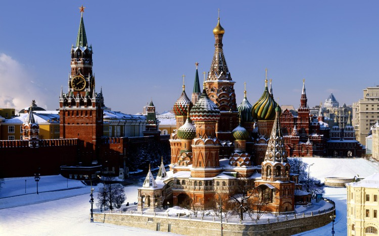Russia, Rossiya , Moskovskaya Oblast', Moscow, Moskva, St Basil's Cathedral and Spassky Tower, Red Square